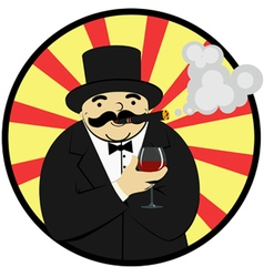 rich man with a glass of wine vector image