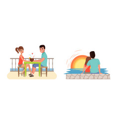 romantic couples travelling on summer vacation set vector image