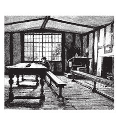 Schoolroom and boy studying literature vintage vector