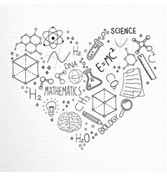 Science hand drawn doodle icons love concept vector