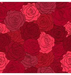 Seamless pattern in red roses with contours vector