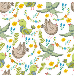 seamless pattern of birds and flowers in vector image
