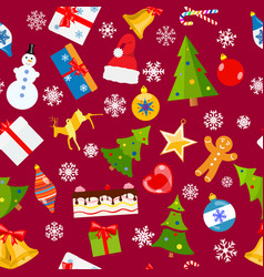 Seamless pattern of christmas symbols vector