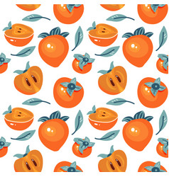 seamless pattern with cartoon persimmon isolated vector image