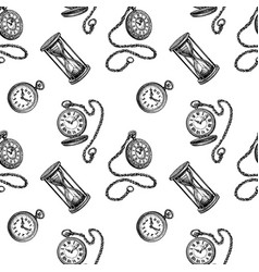 seamless pattern with clock and hourglass vector image