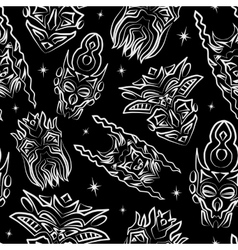 Seamless pattern with totem masks vector