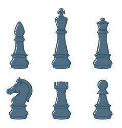 set chess figures in flat style design element vector image