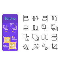 set editing simple lines icons tools vector image