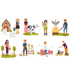 set farmers taking care domestic animals vector image