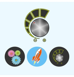 Set icons with gears rocket volume control vector image