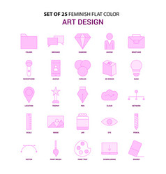 set of 25 feminish art and design flat color pink vector image