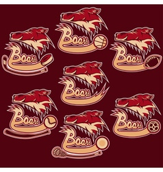 set of boars sports vintage labels vector image
