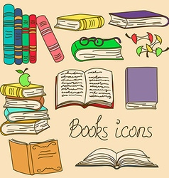 Set of isolated books icons vector image vector image