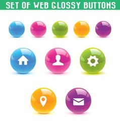 Set web glossy buttons vector