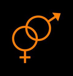 Sex symbol sign orange icon on black background vector