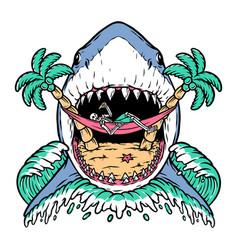 Shark attack skull on beach vector