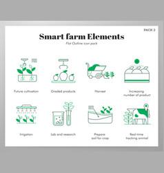 Smart farm elements flatoutline pack vector