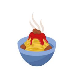 Spaghetti in bowl vector