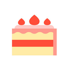 Strawberry short cake food and gastronomy set vector