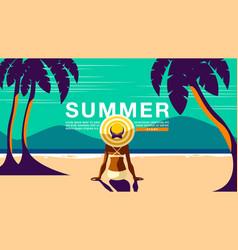 Summer holiday poster design banner sunshine vector