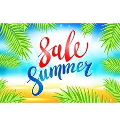 Summer sale lettering on blue background vector image