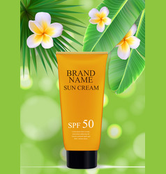 Sun care cream bottle tube template for ads or vector