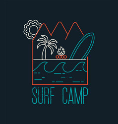 Surf camp text quote with line art beach icons vector