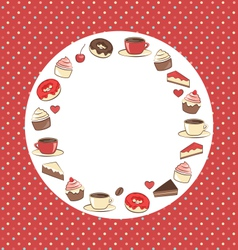 Sweets circle frame on red in dots vector image