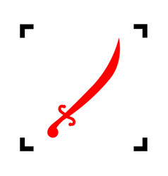 sword sign red icon inside vector image