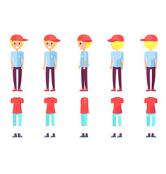 Teenager boy and clothes set vector