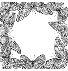 template with ornate doodle hand drawn vector image