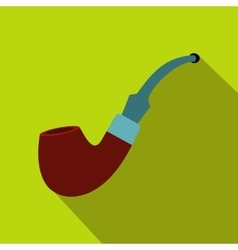 Tobacco pipe icon flat style vector image