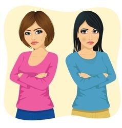 Two angry women looking at each other vector