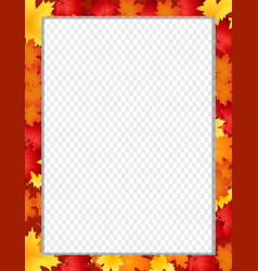 vertical border with fallen autumn maple leaves vector image