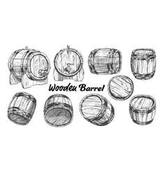 vintage wooden barrel in different side set vector image