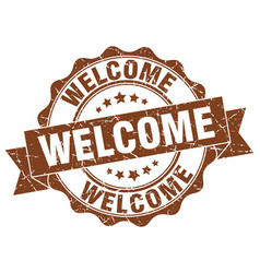 welcome stamp sign seal vector image vector image