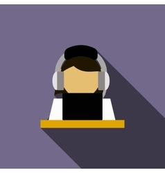 Woman in a headset with laptop icon vector image