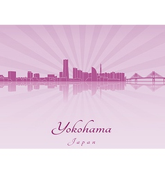 Yokohama skyline in purple radiant orchid vector image