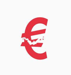 Crashed euro sign financial crisis vector