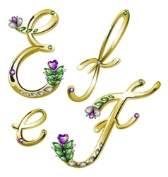 Gold alphabet with diamonds and gems letters EF vector image vector image