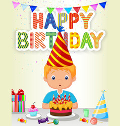 Little boy blowing birthday candle vector image