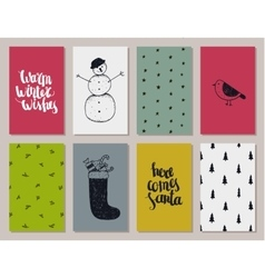 set of colorful Christmas New year cards vector image vector image