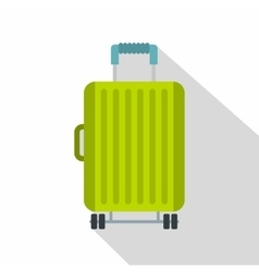 Suitcase on wheels icon flat style vector image vector image