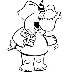 cartoon elephant holding a gift vector image