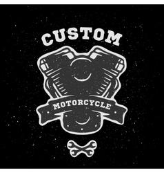 Custom engine hand drawn emblem vector image vector image