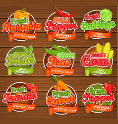fresh vegetable labels vector image vector image