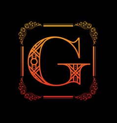 letter g with ornament vector image vector image
