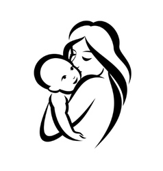 mother and baby stylized symbol vector image vector image