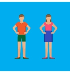 Boy and girl are standing holding arms akimbo vector image vector image