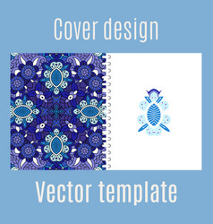 cover design with blue floral ornament vector image